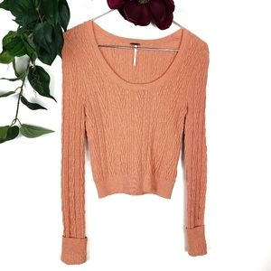 Free People Cropped Coral Cable Knit Sweater Sz: S